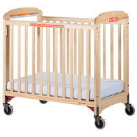 Foundations 2632047 First Responder 24 inch x 38 inch Natural Compact Fixed-Side Clearview Wood Evacuation Crib with SafeSupport Frame, Handles, and 3 inch InfaPure Mattress