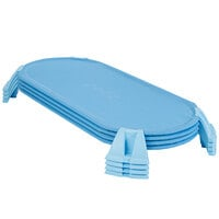 Foundations 4604037 PODZ 54 5/16 inch x 27 3/16 inch x 5 inch Blue Ergonomic Stackable Cot Set - Standard - 4/Pack