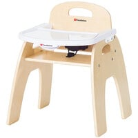 Foundations 4703047 Easy Serve 13 inch Natural Wood Feeding Chair with EasyClean Adjustable Tray