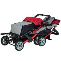 Foundations 4130079 Trio Sport 3-Passenger Red / Black Stroller with Canopies, 5-Point Harnesses, and Storage Basket