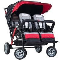 Foundations 4141079 Quad Sport 4-Passenger Red / Black Stroller with Dual Canopy, 5-Point Harnesses, and Storage Basket