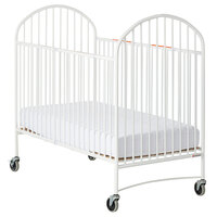 Foundations 1311097 Pinnacle EasyRoll 28 inch x 52 inch Full Size White Steel Folding Crib with Oversized Casters