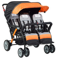 Foundations 4141309 Quad Sport 4-Passenger Orange / Black Stroller with Dual Canopy, 5-Point Harnesses, and Storage Basket