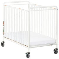 Foundations 2032097 Chelsea 24 inch x 38 inch White Compact Powder-Coated Steel Crib with Clearview End Panel, Oversized Casters, and 3 inch InfaPure Mattress