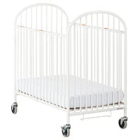 Foundations 1331360 Pinnacle 24 inch x 38 inch Compact White Steel Folding Crib with Oversized Casters and 4 inch InfaPure Mattress