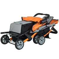 Foundations 4130309 Trio Sport 3-Passenger Orange / Black Stroller with Canopies, 5-Point Harnesses, and Storage Basket