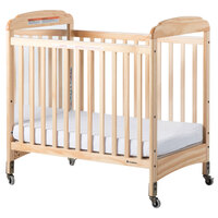 Foundations 2533040 Serenity 24 inch x 38 inch Natural Compact Fixed-Side Clearview / Mirror Wood Crib with Adjustable Mattress Board and 3 inch InfaPure Mattress