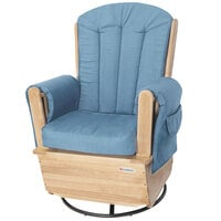 Foundations 4303046 SafeRocker 29 1/4 inch x 26 inch x 42 inch Natural Wood Swivel Glider Rocker with Light Blue Cushions