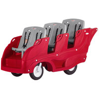 Foundations 4162357 Gaggle Parade 6-Passenger Red / Gray Daycare Buggy with SoftStop Brake, 5-Point Harnesses, and EasyLoad Steps