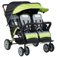 Foundations 4141299 Quad Sport 4-Passenger Lime / Black Stroller with Dual Canopy, 5-Point Harnesses, and Storage Basket