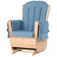 Foundations 4304046 SafeRocker 30 inch x 29 inch x 43 inch Natural Wood Glider Rocker with Light Blue Cushions