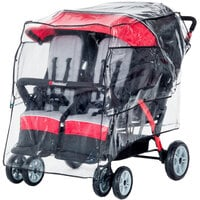 Foundations 8042196 49 1/2 inch x 34 inch x 40 1/2 inch Transparent Vinyl Rain Shield for LX4 and Quad Sport 4-Passenger Strollers