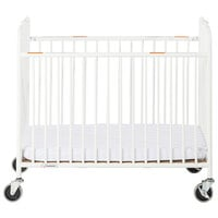 Foundations 1231090 StowAway EasyRoll 24 inch x 38 inch Compact White Steel Folding Crib with Oversized Casters and 2 inch InfaPure Mattress