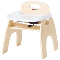 Foundations 4701047 Easy Serve 11 inch Natural Wood Feeding Chair with EasyClean Adjustable Tray