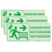 Foundations 1963006 First Responder 3-Piece Crib Evacuation Route Glow-in-the-Dark Sign Kit - 3/Pack