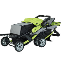 Foundations 4130299 Trio Sport 3-Passenger Lime / Black Stroller with Canopies, 5-Point Harnesses, and Storage Basket