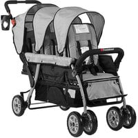 Foundations 4130339 Trio Sport 3-Passenger Gray / Black Stroller with Canopies, 5-Point Harnesses, and Storage Basket
