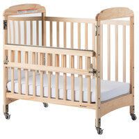 Foundations 2543040 Serenity SafeReach 24 inch x 38 inch Natural Compact Clearview / Mirror Wood Crib with Safety Access Gate, Adjustable Mattress Board, and 3 inch InfaPure Mattress