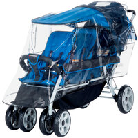 Foundations 8031196 72 1/2 inch x 23 1/4 inch x 42 inch Transparent Vinyl Rain Shield for LX3 3-Passenger Stroller