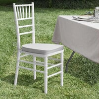 Lancaster Table & Seating White Chiavari Chair with Silver Cushion