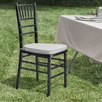Lancaster Table & Seating Black Chiavari Chair with Silver Cushion