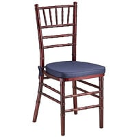 Lancaster Table & Seating Mahogany Chiavari Chair with Navy Blue Cushion