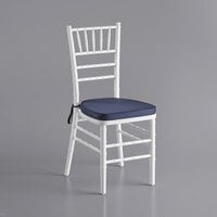 Lancaster Table & Seating White Chiavari Chair with Navy Blue Cushion