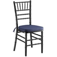 Lancaster Table & Seating Black Chiavari Chair with Navy Blue Cushion