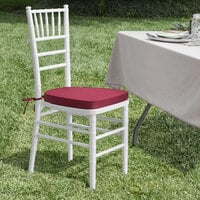 Lancaster Table & Seating White Chiavari Chair with Wine Red Cushion
