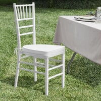 Lancaster Table & Seating White Chiavari Chair with White Cushion
