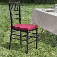 Lancaster Table & Seating Black Chiavari Chair with Wine Red Cushion