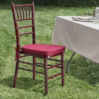 Lancaster Table & Seating Mahogany Chiavari Chair with Wine Red Cushion