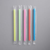 "Choice 8 1/2"" Colossal Neon Wrapped Straw   - 1600/Case"