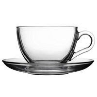 Pasabahce 97948-024 8 oz. Glass Coffee Cup and Saucer - 24/Case