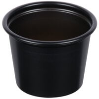 Solo P100BLK Black 1 oz. Plastic Souffle / Portion Container   - 250/Pack