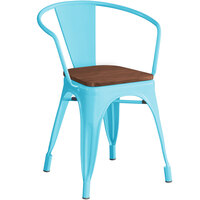 Lancaster Table & Seating Alloy Series Arctic Blue Metal Indoor Industrial Cafe Arm Chair with Vertical Slat Back and Walnut Wood Seat