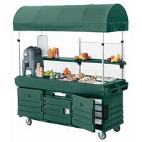 Cambro KVC854C519 CamKiosk Green Vending Cart with 4 Pan Wells and Canopy