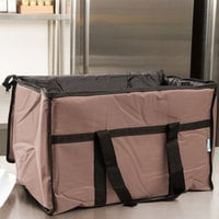 Choice Insulated Food Delivery Bag / Pan Carrier, Brown Nylon, 23 inch x 13 inch x 15 inch
