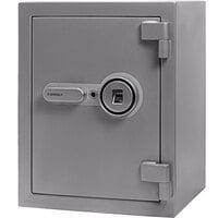 Barska AX13494 13 3/4 inch x 15 3/8 inch x 19 11/16 inch Gray Steel Fireproof Biometric Security Safe with Fingerprint Lock and Key Access - 1.64 Cu. Ft.