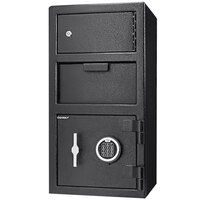 Barska AX13310 14 inch x 14 inch x 27 1/4 inch Black Steel Locker Depository Safe with Independent Top Storage, Digital Keypad, and Key Lock Access - 0.72 / 0.78 Cu. Ft.