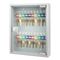 Barska CB12952 10 3/4 inch x 3 inch x 13 3/4 inch Gray Steel 20-Key Cabinet with Glass Door and Key Lock