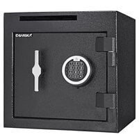 Barska AX13314 14 inch x 14 inch x 14 inch Black Steel Compact Check Slot Depository Safe with Digital Keypad and Key Lock - 1.12 Cu. Ft.