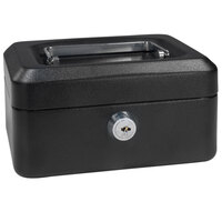 Barska CB11828 6 inch x 4 1/2 inch x 3 1/8 inch Extra Small Black Steel Cash Box with Key Lock and Handle