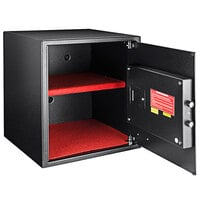 Barska AX12842 16 inch x 14 1/2 inch x 17 1/2 inch Large Black Steel Surface-Mount Biometric Security Safe with Fingerprint Scanner and Keypad - 1.94 Cu. Ft.