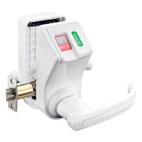 Barska EA12936 6 1/2 inch x 8 1/2 inch x 6 inch White Reversible-Handle Biometric Security Door Lock with Fingerprint and RFID Scanners and Hidden Key Lock