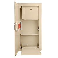 Barska AX12880 15 1/2 inch x 4 inch x 31 1/2 inch Large Cream-Colored Steel Left-Opening Recessed Wall-Mount Biometric Safe / Cabinet with Secondary Key Lock - 0.82 Cu. Ft.