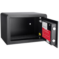 Barska AX11620 12 inch x 7 3/4 inch x 8 inch Black Compact Steel Biometric Security Safe with Fingerprint Access and Key Lock - 0.29 Cu. Ft.