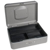 Barska CB11786 10 inch x 7 1/8 inch x 3 9/16 inch Medium Gray Steel Cash Box with Combination Lock and Handle