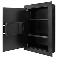Barska AX13034 15 3/8 inch x 3 3/4 inch x 20 3/4 inch Black Steel Recessed Wall-Mount Left-Opening Biometric Security Safe with Fingerprint Scanner and Key Lock - 0.52 Cu. Ft.