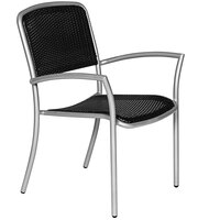 Wabash Valley HA9110P Hanna Black Polyethylene Arm Chair with Weave Insert Seat and Back